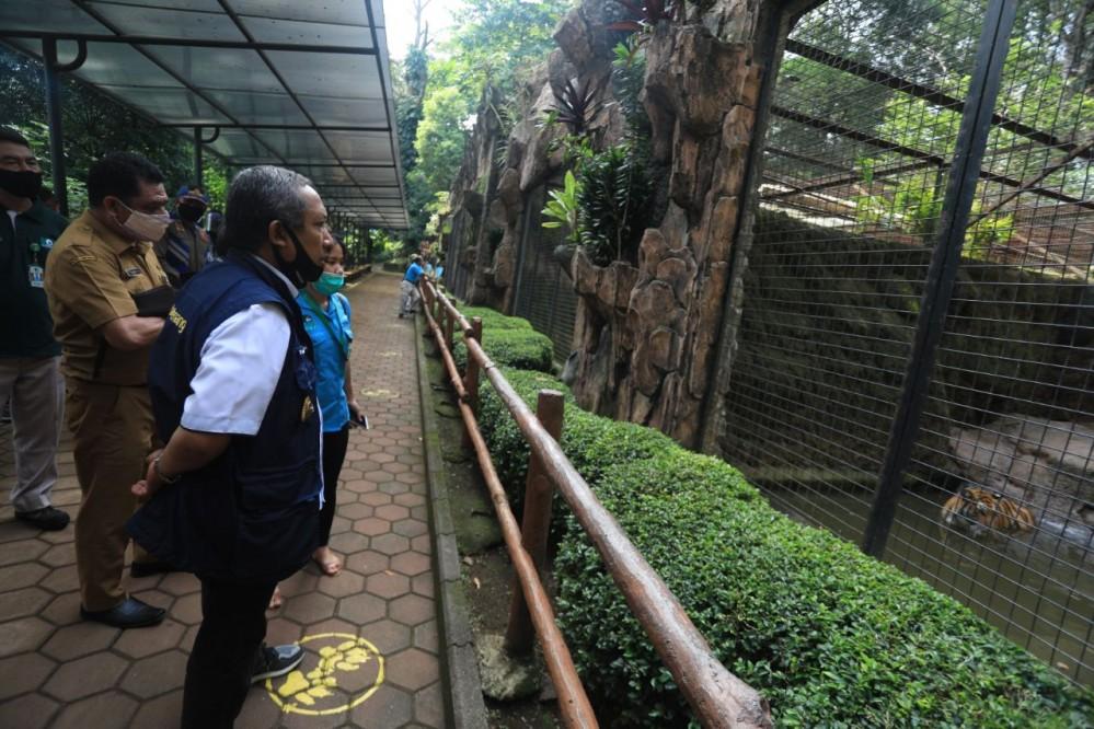 Wakil Ketua Gugus Tugas Percepatan Penanganan Covid-19 Kota Bandung, Yana Mulyana saat meninjau kesiapan pengelola Kebon Binatang Bandung dalam menerapkan protokol kesehatan.* Agvi/Humas.Bandung.go.id
