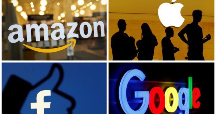 Logo Amazon, Apple, Facebook, dan Google.