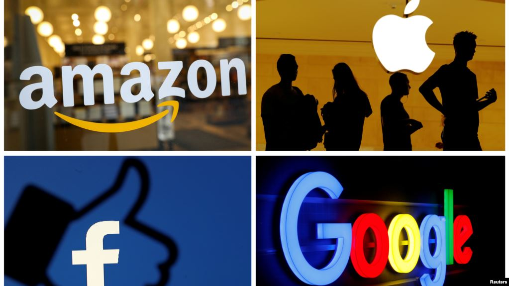 Logo Amazon, Apple, Facebook, dan Google.