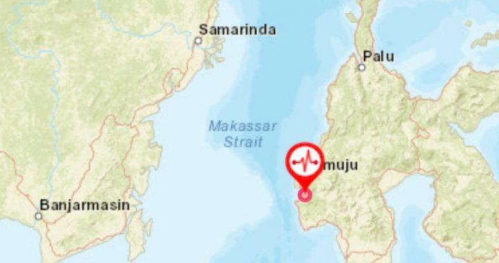 Foto : Titik lokasi gempa M6,2 di Provinsi Sulawesi Barat. (BMKG)
