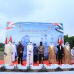 Menag Yaqut bersama bersama Ketua Otoritas Umum Bidang Urusan Islam dan Wakaf UEA Mohammed bin Matar Al Kaabi letakkan batu pertama pembangunan masjid (Foto : Kemenag)
