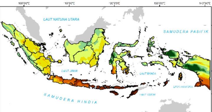 Foto : Peta Prakiraan Curah Hujan Agustus 2021 (BMKG)