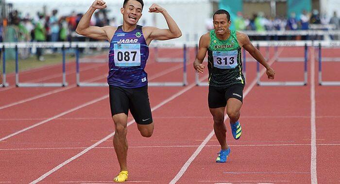 tlet Jawa Barat, Halomoan EB (087) berhasil meraih medali emas Atletik PON XX Papua nomor Lari 400m Gawang Putra. (Foto : PB PON XX Papua / Ady Sesotya)